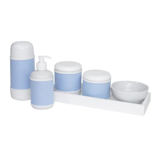 Kit Higiene Slim Branco Garrafa Pequena Capa Azul Bebê