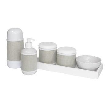 Kit Higiene Slim Branco Garrafa Pequena Capa Bege Chambrê