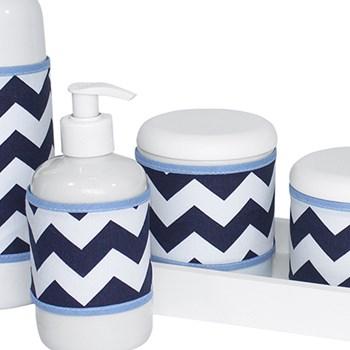 Kit Higiene Slim Branco Garrafa Pequena Capa Chevron Marinho