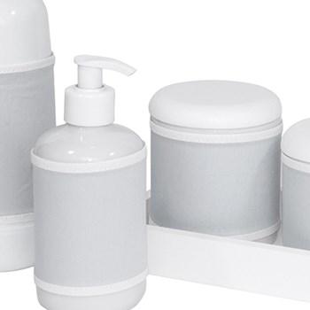 Kit Higiene Slim Branco Garrafa Pequena Capa Cinza Liso