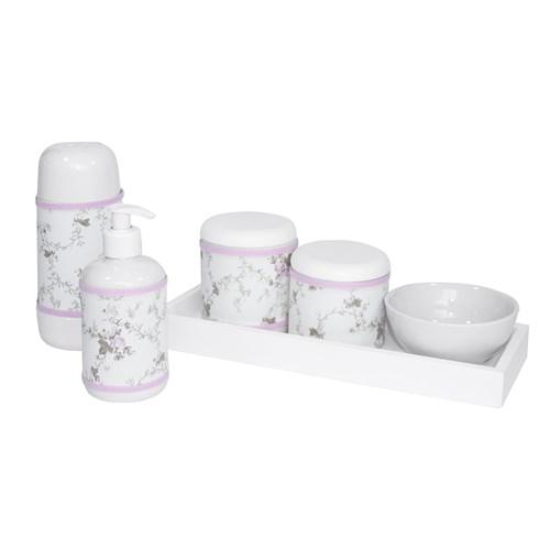 Kit Higiene Slim Branco Garrafa Pequena Capa Rosa Provençal