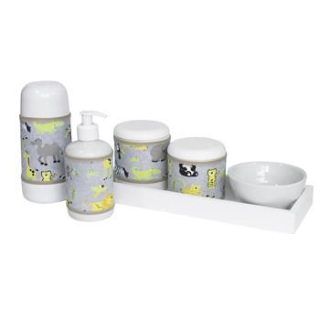 Kit Higiene Slim Branco Garrafa Pequena Capa Safári