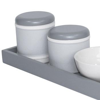 Kit Higiene Slim Cinza Capa Cinza Liso
