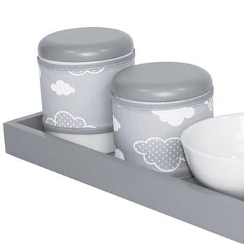 Kit Higiene Slim Cinza Capa Nuvem Chevron Cinza