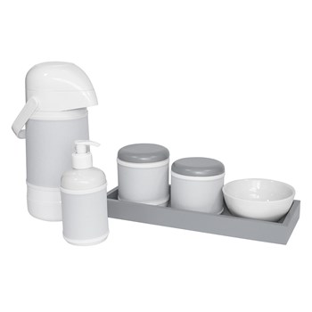 Kit Higiene Slim Cinza Garrafa Grande Capa Cinza Liso
