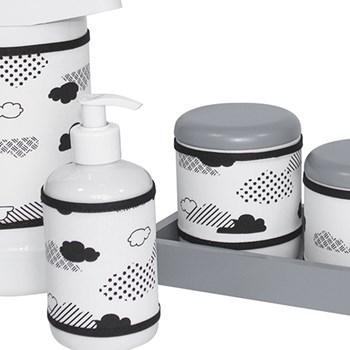 Kit Higiene Slim Cinza Garrafa Grande Capa Nuvem Black