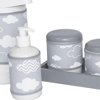 Kit Higiene Slim Cinza Garrafa Grande Capa Nuvem Chevron Cinza