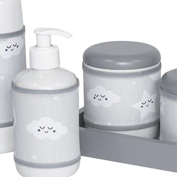 Kit Higiene Slim Cinza Garrafa Pequena Capa Chuva de Amor Cinza