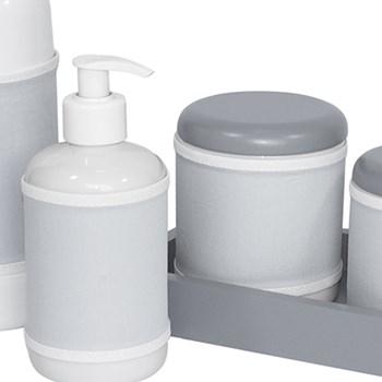 Kit Higiene Slim Cinza Garrafa Pequena Capa Cinza Liso