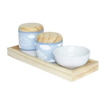 Kit Higiene Slim Pinus Capa Nuvem Chevron Azul