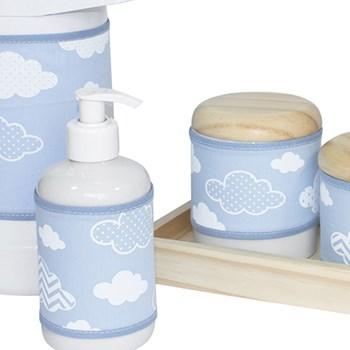 Kit Higiene Slim Pinus Garrafa Grande Capa Nuvem Chevron Azul