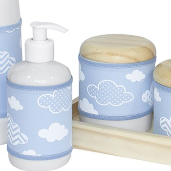 Kit Higiene Slim Pinus Garrafa Pequena Capa Nuvem Chevron Azul