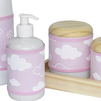 Kit Higiene Slim Pinus Garrafa Pequena Capa Nuvem Chevron Rosa