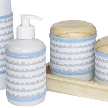 Kit Higiene Slim Pinus Garrafa Pequena Capa Ondinha Azul