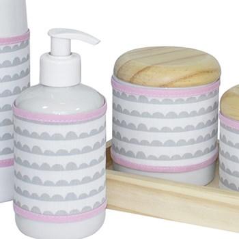 Kit Higiene Slim Pinus Garrafa Pequena Capa Ondinha Rosa