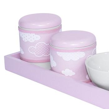 Kit Higiene Slim Rosa Capa Nuvem Chevron Rosa