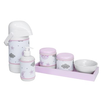 Kit Higiene Slim Rosa Garrafa Grande Capa Chuva De Amor Rosa