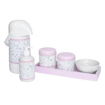 Kit Higiene Slim Rosa Garrafa Grande Capa Jardim Rosa
