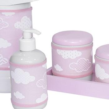 Kit Higiene Slim Rosa Garrafa Grande Capa Nuvem Chevron Rosa