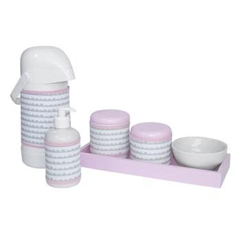Kit Higiene Slim Rosa Garrafa Grande Capa Ondinha Rosa