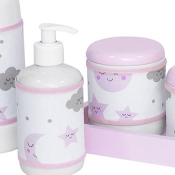 Kit Higiene Slim Rosa Garrafa Pequena Capa Chuva De Amor Rosa