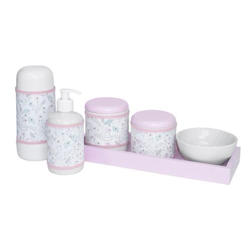 Kit Higiene Slim Rosa Garrafa Pequena Capa Jardim Rosa