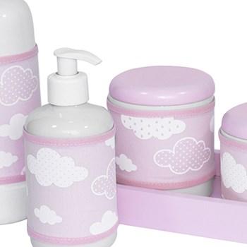 Kit Higiene Slim Rosa Garrafa Pequena Capa Nuvem Chevron Rosa