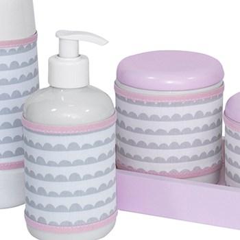 Kit Higiene Slim Rosa Garrafa Pequena Capa Ondinha Rosa