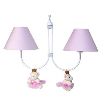 Lustre 2L Simples Com 2 Ursinhas Princesas Rosa