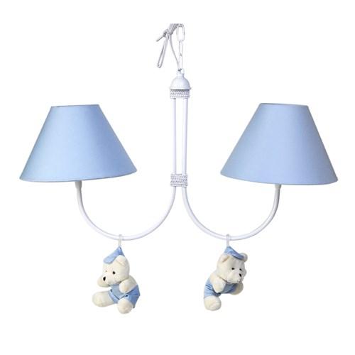 Lustre 2L Simples Com 2 Ursinhos De Boné Azul