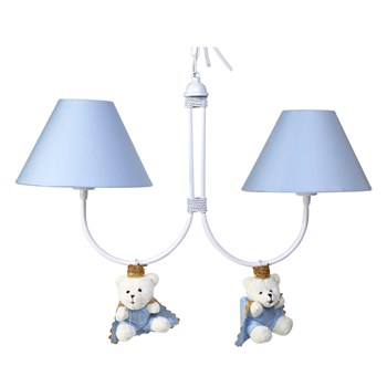 Lustre 2L Simples Com 2 Ursinhos Príncipes Azul