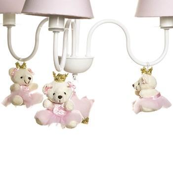 Lustre 3L Simples Com 3 Ursinhas Princesas