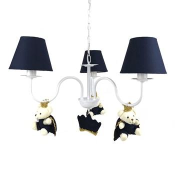 Lustre 3L Simples Com 3 Ursinhos Príncipes Marinho