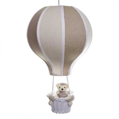 Lustre Balão Grande Bege Com Ursinho