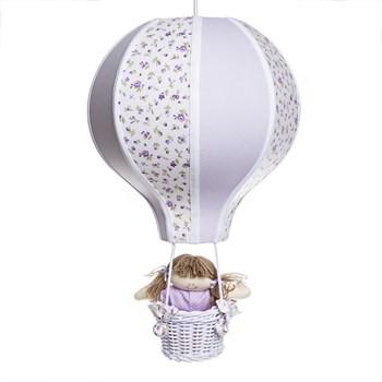 Lustre Balão Grande Lilás Com Boneca