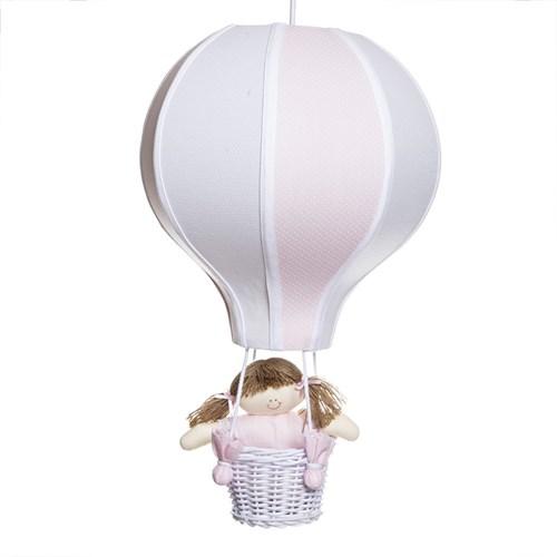 Lustre Balão Grande Rosa Com Boneca