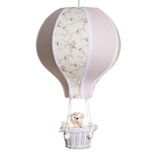 Lustre Balão Grande Rosa Com Ursinha