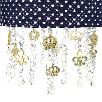 Lustre Tubular Cristais Coroas Douradas
