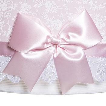 Lustre Tubular Duplo Rosa Com Laço