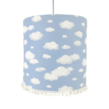 Lustre Tubular Pompom Nuvem Azul