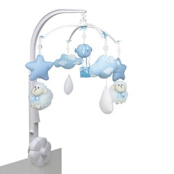 Móbile Carneiro, Nuvens e Balão Azul- Sem Caixa Musical