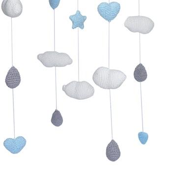 Móbile de Teto Crochê Chuva de Amor Azul