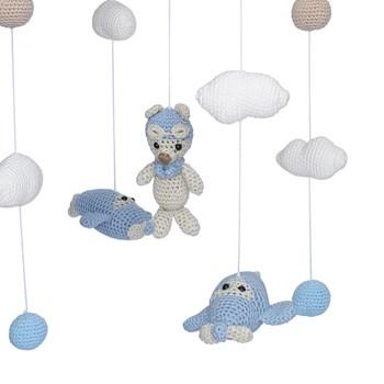 Móbile de Teto Crochê Ursinho Aviador Azul