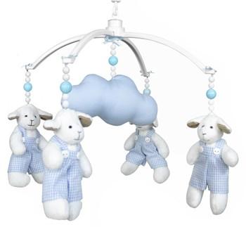 Móbile Musical Carneiro Azul e Nuvem