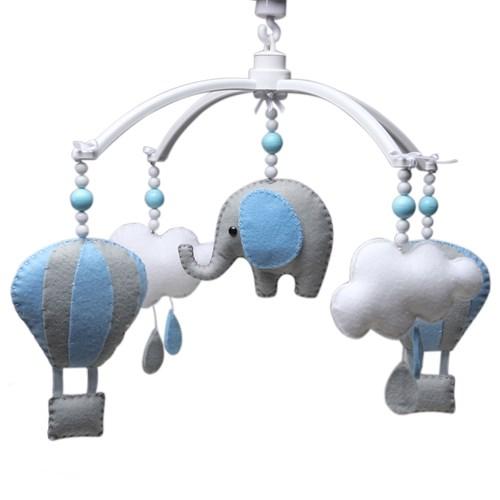 Móbile Musical Elefante Balão Azul