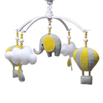 Móbile Musical Elefante Balão Cinza
