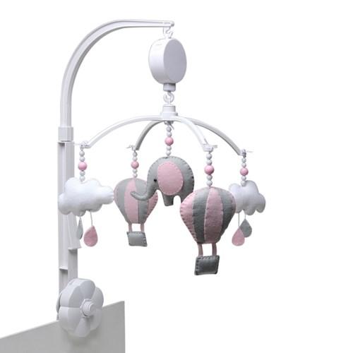 Móbile Musical Elefante Balão Rosa
