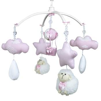 Móbile Musical Ovelha, Nuvens e Balão Rosa