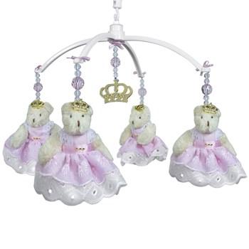 Móbile Musical Ursa Princesa Rosa e Coroa Dourada