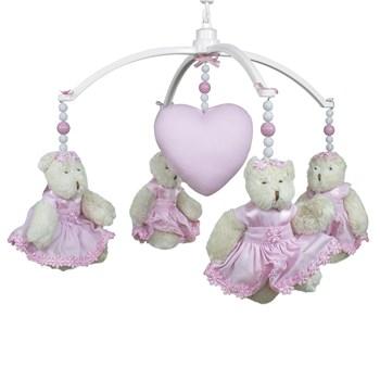 Móbile Musical Ursinha Flores Rosa e Coração